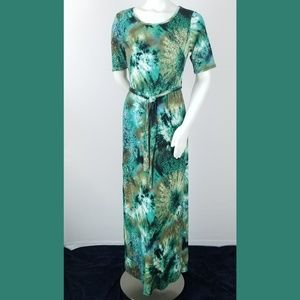 Maxi Dress Small Green Long Tie Dyed Print Stretch